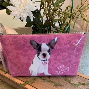 """BETSEY JOHNSON PINK """"FRENCHIE"""" WRISTLET/ COSMETIC"""
